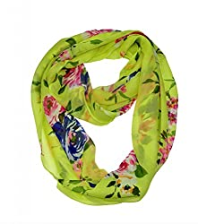 WishCart? Women's Infinity Scarf Light Weight Flower And Trees Printed,Size Bigger Then Others(Green)