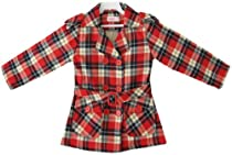 BR23 Girls Coat Red Checks Plaid Jacket Top Kids Clothes Size 7-8