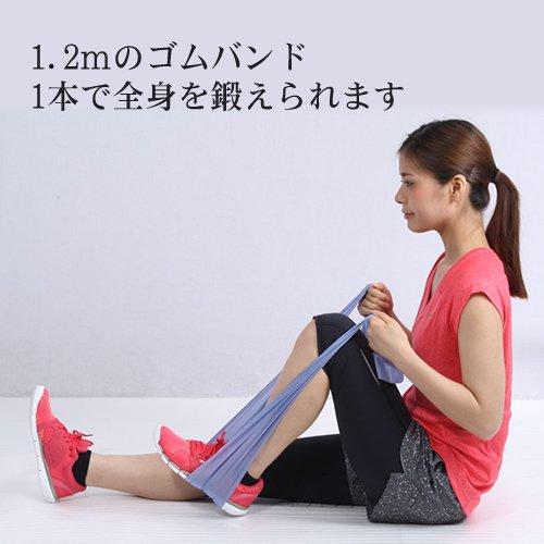 トレーニングチューブ 筋トレ・ストレッチに最適 エクササイズ用ゴムバンド (青色) パッケージ版