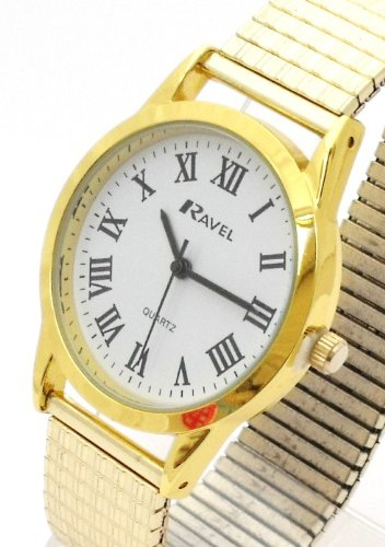 Mens/Gents Gold Roman Numerals Expanding/Expander/Expansion Bracelet Band Watch (R0201.13.1)