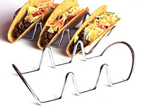Premium Taco Holders. Restaurant Style Stainless Steel Racks. Each Stand Holds Three Hard or Soft Shells. Easy Fill and Serve Mexican Food (2 Pack) (Taco Bell Tray compare prices)