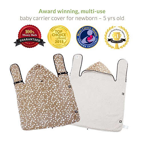 Baby Carrier Covers – THE WARMEST, cuddliest, AWARD WINNING, DOUBLE FLEECE winter cover, fits onto ALL baby carriers. Adjustable with Hoodie. 5-in-1 Multipurpose – use as Stroller Cover, Poncho & more