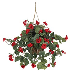 Nearly Natural 6616 Begonia Hanging Basket, Red