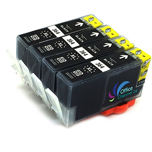 4x kompatibel Tintenpatronen zu hp 364 xl schwarz mit Chip für HP Photosmart 5510 5514 5515 5520 5522 5524 6510 6520 6525 7510 7520 DESKJET 3070A 3520 3522 OFFICEJET 4620 4622
