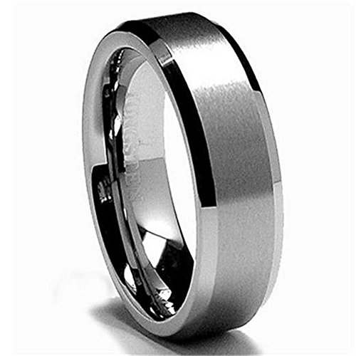 King Will Men's 6mm Tungsten Carbide Ring Wedding Band Matte/Brushed Finish in Comfort Fit(9)