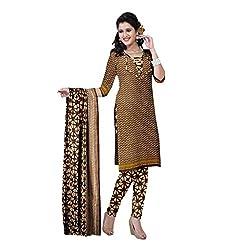 Muac New Coffee Pure JodhPuri Printed Cotton Semi Stitched Suit ( Dress ) + Navratri Gift