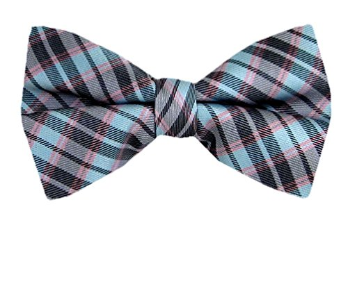 Gray - Aqua - Pink Self - Tie Bow Tie