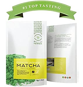 Greenhouse Superfoods :: GREAT GIFT :: Rated TOP TASTING Matcha on Amazon :: 5% Donated to Cancer Cure Research :: Organic Ceremonial Green Matcha Tea Powder :: 35g Value Size ::120% Money Back Guarantee