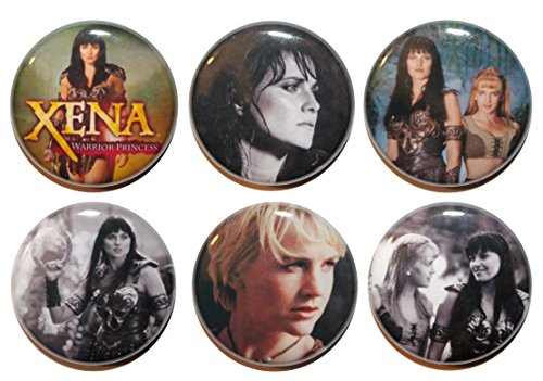 Set di 6 XENA WARRIOR PRINCESS Badge TV Show Button (25 mm), MADE IN UK, motivo a bottone, Zombie