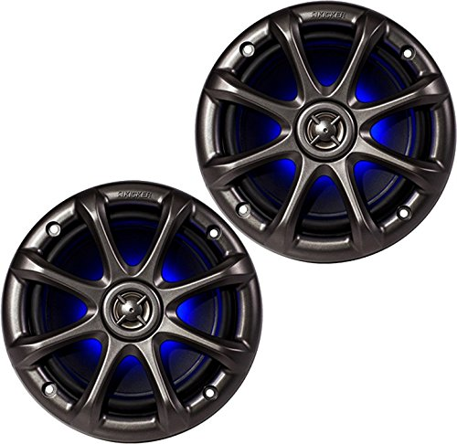 "Pair Of Kicker 11Km6Lc Charcoal Grey 6"" / 6.5"" 4-Ohm Coaxial Marine Speakers 195 Watts Peak / 65 Watts Rms Each Speaker With Vivid Blue Led Accent Lighting"
