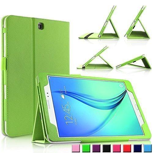 Infiland Samsung Galaxy Tab A 9.7 Hülle Case Slim Fit Folio PUlederne dünne Kunstleder Schutzhülle Cover Tasche für Samsung Galaxy Tab A 9.7 T550N/ T555N 24,6 cm (9,7 Zoll) WiFi/LTE TabletPC (mit Auto Schlaf / Wach Funktion)(Grün) Picture
