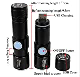 Global-store Mini USB Rechargeable LED Flashlight Torch Adjustable Focus Zoom Aluminum Alloy Portable Rechargeable Light Lamp for Cycling, Camping, Hiking, Hunting & Indoor Activities - 3.66 Inch