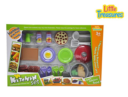 Kitchen Set- complete cookware collection for your 3 year old, made up of 24 pcs, prepare meaty dinner with beef steak, ribs, whole chicken, pizza, cooking pot, plates, paprika, condiment and cutlery!