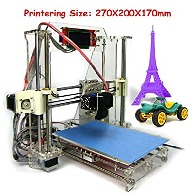HICTM Reprap Prusa I3 Clear Frame Full 3d Printer Kit with LCD Screen Gt2 Mk8