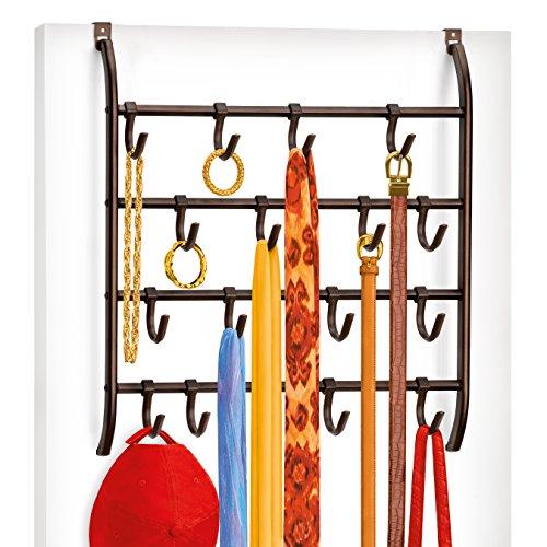 Lynk Over Door or Wall Mount Scarf Holder - Belt, Hat, Jewelry, Accessory Hanger - 16 Hook Organizer Rack - Bronze (Cap Rack Over The Door compare prices)