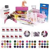 SHS® Kit Nail Art Professionel Haute Qualité Nail Art Salon - 48 accessoires et gels UV,Décorations,Cristal Paillettes,Pinceaux Nail Art et Acrylique,Stylos