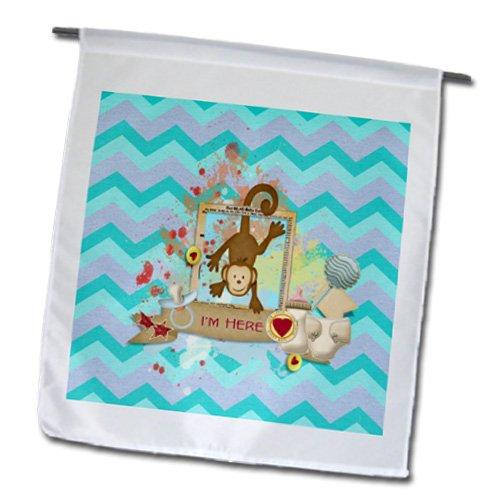 Beverly Turner Baby Stuff Design - Monkey Hanging, Im Here, With Bottle, Rattle, Diaper, Chevron Design - Flags - 12 X 18 Inch Garden Flag - Fl_192566_1 front-237883