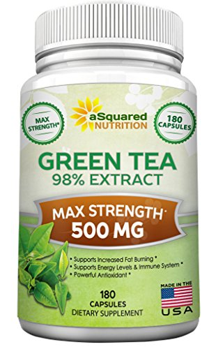Green Tea Extract Supplement with EGCG - 180 Capsules - Max Potency Green Tea Fat Burner 500 mg Pills for Weight Loss, Boost Metabolism & Heart Health, All-Natural Low Caffeine Diet Detox Antioxidant (Pure Green Tea Extract Pills compare prices)