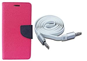 Novo Style Wallet Case Cover For HTC Desire 728 Pink + 3 feet Slim 3.5mm Music Record Stereo Audio Auxiliary AUX Cable Cord