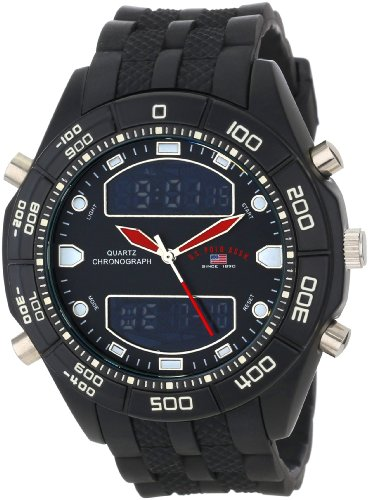 U.S. Polo Assn. Classic Men'S Us9114  Black Rubber Ana-Digital Watch