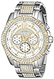 GUESS Men's U0291G4 Two-Tone Chronograph Watch with Genuine Crystals in Silver-Tone & Gold-Tone