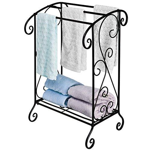 Elegant Black Wrought Iron Victorian Freestanding Bathroom Towel Rack Stand W 3 Towel Bars
