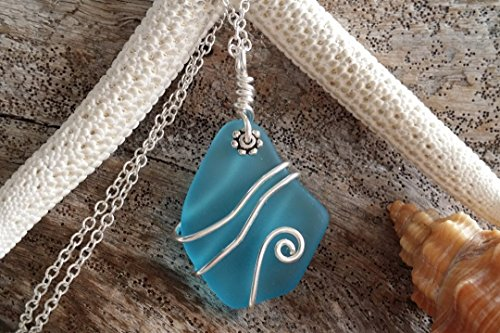 Handmade sea glass jewelry in Hawaii, Wire wrapped blue sea glass necklace, sterling silver chain,gift box, Christmas gift for her, birthday gift,sea glass jewelry,beach glass jewelry. (Handmade Wire Jewelry compare prices)