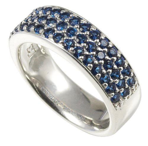 Merii Sterling Silver Blue Cubic Zirconia Wide Half Eternity Ring