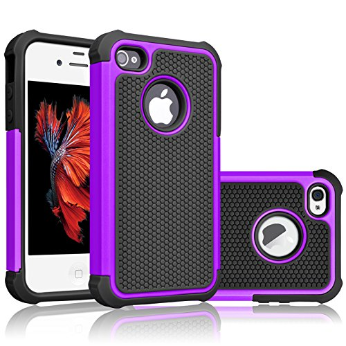 iPhone 4S Case, Tekcoo(TM) [Tmajor Series] iPhone 4 / 4S Case Shock Absorbing Hybrid Best Impact Defender Rugged Slim Grip Bumper Cover Shell w/ Plastic Outer & Rubber Silicone Inner [Purple/Black] (Cool Case Iphone 4s compare prices)