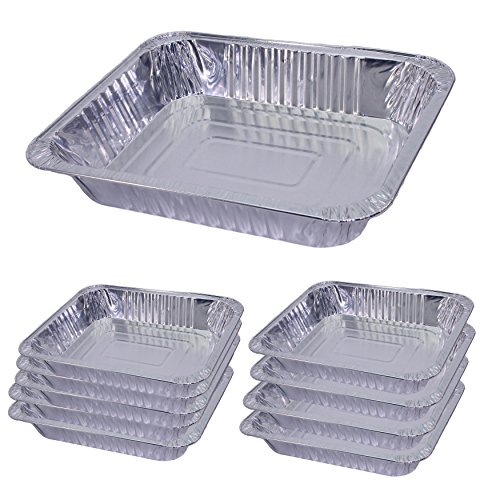 Pack of 10 Half Size Disposable Aluminum Foil Pans