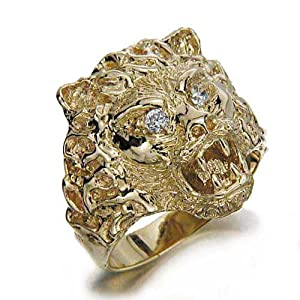Gioie Unisex Ring in Yellow 18k Gold with White Cubic Zirconia, Size 11, 24 Grams