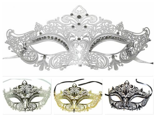 Enchanted Venetian Filigree Laser Cut Metal Masked Ball Crown Mask w/ Crystal