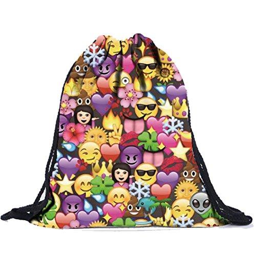 Mostsola Portable Outdoor Sport Travel Unisex Emoji Drawstring Backpack (Emoji Draw compare prices)