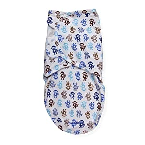 Summer Infant SwaddleMe Adjustable Infant Wrap, Lil Monkey Blue, Small/Medium