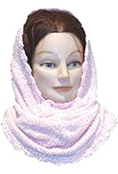 Knitted Pink Chenille Balaclava Scarf Neck Warmer Hood for Women and Teens