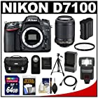 Nikon D7100 Digital SLR Camera Body with 55-200mm Lens + 64GB Card + Battery & Charger + Case + Flash + Filter + Tripod + Accessory Kit
