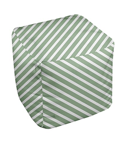 E by design Stripe Pouf, 13-Inch, 2Margarita Green
