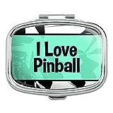 Rectangle Pill Case Trinket Gift Box I Love Heart Sports Hobbies On Py Pinball