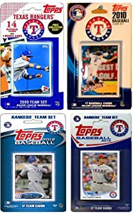 MLB Texas Rangers 4-Different Licensed Trading Card Team Set by C&I Collectables