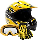 Youth Offroad Gear Combo Helmet Gloves Goggles DOT Motocross ATV Dirt Bike MX Motorcycle Yellow, Large