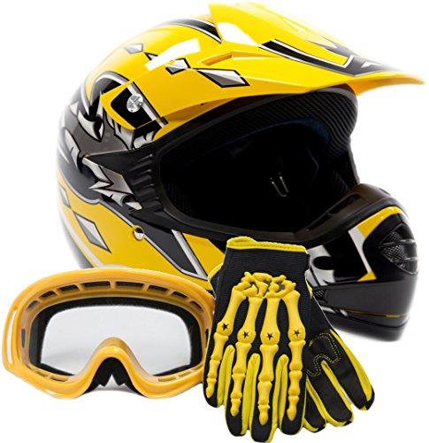 Youth Offroad Gear Combo Helmet Gloves Goggles DOT Motocross ATV Dirt Bike...