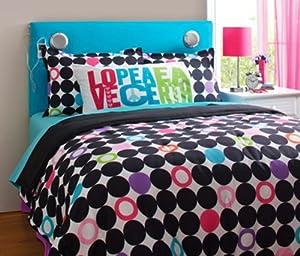 Amazon Com Teen Girl Love Peace Earth Polka Dot Full Queen Comforter Set 4pc Set Bed In A Bag