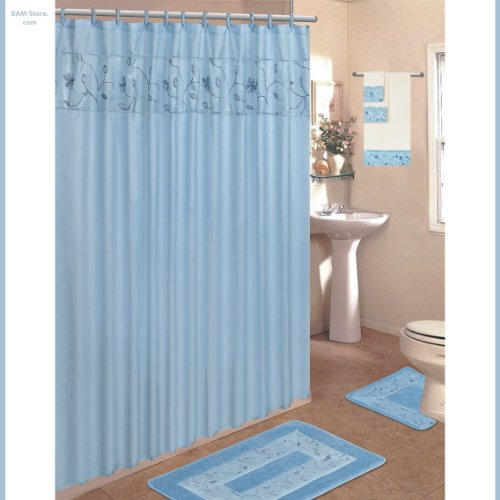 Blue 18-Piece Bathroom Set: 2-Rugs/Mats, 1-Fabric Shower Curtain, 12-Fabric Covered Rings, 3-Pc. Decorative Towel Set