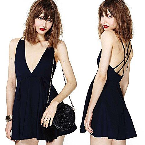 Foru Harper Backless V profonda STREET-STYLE vita alta Casual Danza Partito Chiffon Dresss Navy,Black X-Small