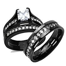 buy His & Her 3Pc Black Stainless Steel & Titanium Wedding Engagement Ring Band Set