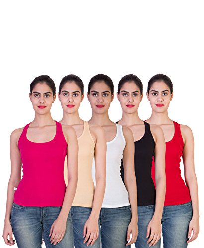 2DAY-Womens-Stylish-Comfy-Tank-top-FushiaSkinWhiteBlackRed-Pack-of-5