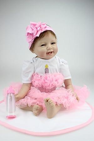 22 pouces 55cm Nouveau-né réaliste Reborn Bébé Poupée Silicone en vinyle doux Avec la sucette magnétique Cadeaux d'anniversaire pour bébés