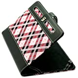 """Limited Edition Pink Plaid Protective Slim and Durable Professional Faux Leather Executive Portfolio Cover Carrying Case with Memory Card Slots For Amazon Kindle Fire Full Color 7"""" Multi-touch Display Wi-Fi (Newest Tablet) + Includes a Crystal Clear High Quality HD Noise Filter Ear buds Earphones Headphones ( 3.5mm Jack )"""
