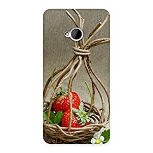 Premium Straberry Basket Multicolor Back Case Cover for HTC One M7