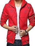 (ラルジュアルブル) largearbre デザイン パーカー メンズ 長袖 人気 フード かっこいい ユニセックス グレー 青 白 赤 黒 (XL, レッド)